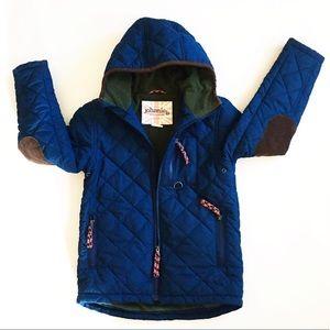 Mini Boden Johnnie B Coat Fleece Blue Green 9 10